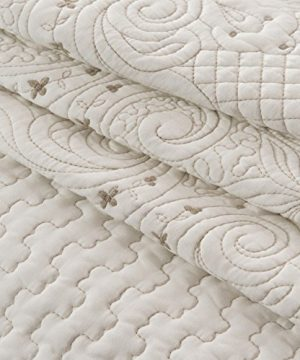 Brandream Romantic Cream White Bedding Quilt Set Queen King Size Embroidery Vintage Bedspread Coverlet Set 0 1 300x360