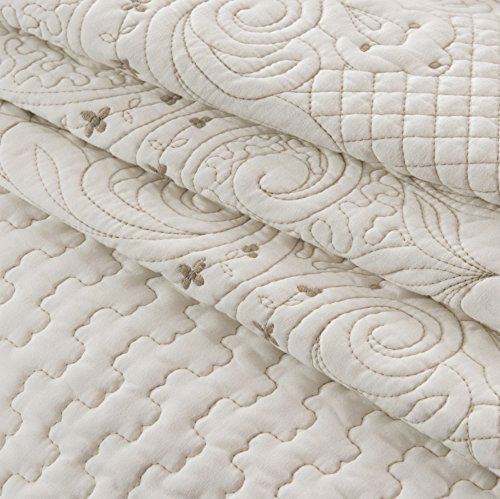 Brandream Romantic Cream White Bedding Quilt Set Queen King Size Embroidery Vintage Bedspread Coverlet Set 0 1