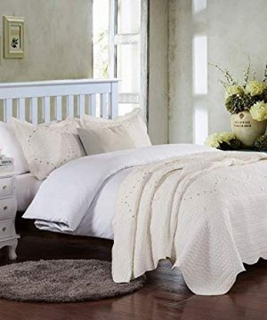 Brandream Romantic Cream White Bedding Quilt Set Queen King Size Embroidery Vintage Bedspread Coverlet Set 0 2 300x360
