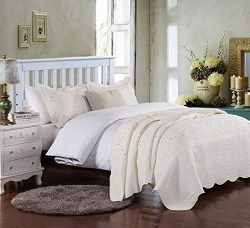 Brandream Romantic Cream White Bedding Quilt Set Queen King Size Embroidery Vintage Bedspread Coverlet Set 0 2