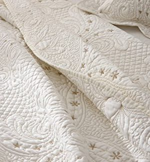 Brandream Romantic Cream White Bedding Quilt Set Queen King Size Embroidery Vintage Bedspread Coverlet Set 0 3 300x325