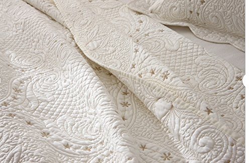 Brandream Romantic Cream White Bedding Quilt Set Queen King Size Embroidery Vintage Bedspread Coverlet Set 0 3