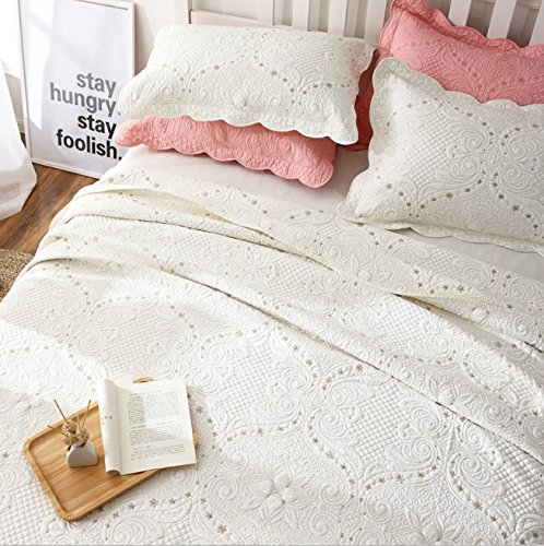 Brandream Romantic Cream White Bedding Quilt Set Queen King Size Embroidery Vintage Bedspread Coverlet Set 0 4