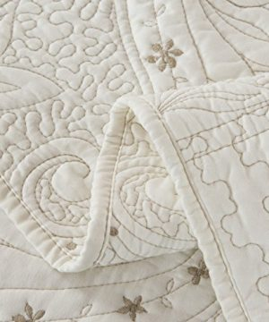 Brandream Romantic Cream White Bedding Quilt Set Queen King Size Embroidery Vintage Bedspread Coverlet Set 0 5 300x360