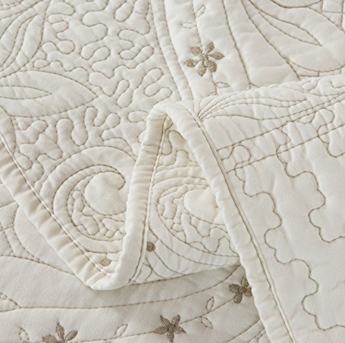 Brandream Romantic Cream White Bedding Quilt Set Queen King Size Embroidery Vintage Bedspread Coverlet Set 0 5