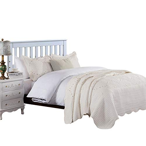 Brandream Romantic Cream White Bedding Quilt Set Queen King Size Embroidery Vintage Bedspread Coverlet Set 0