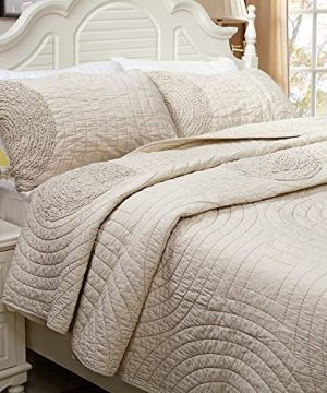 Brandream Shabby Farmhouse Bedding Sets King Size Quilt Set Beige 100 Cotton Bedspreads Queen Size Coverlet Set 0 0 300x360