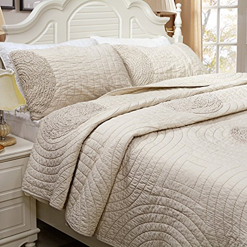 Brandream Shabby Farmhouse Bedding Sets King Size Quilt Set Beige 100 Cotton Bedspreads Queen Size Coverlet Set 0 0