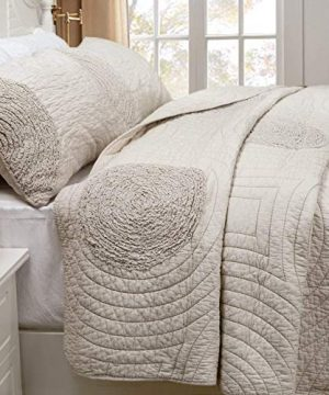 Brandream Shabby Farmhouse Bedding Sets King Size Quilt Set Beige 100 Cotton Bedspreads Queen Size Coverlet Set 0 1 300x360