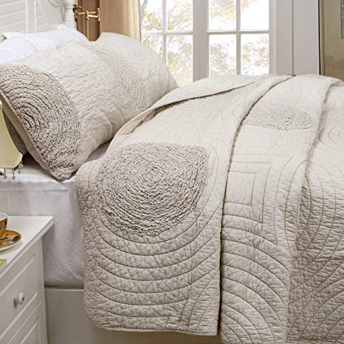 Brandream Shabby Farmhouse Bedding Sets King Size Quilt Set Beige 100 Cotton Bedspreads Queen Size Coverlet Set 0 1