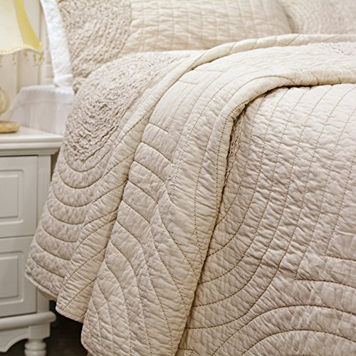 Brandream Shabby Farmhouse Bedding Sets King Size Quilt Set Beige 100 Cotton Bedspreads Queen Size Coverlet Set 0 2