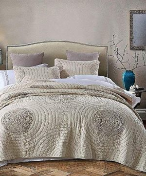Brandream Shabby Farmhouse Bedding Sets King Size Quilt Set Beige 100 Cotton Bedspreads Queen Size Coverlet Set 0 300x360