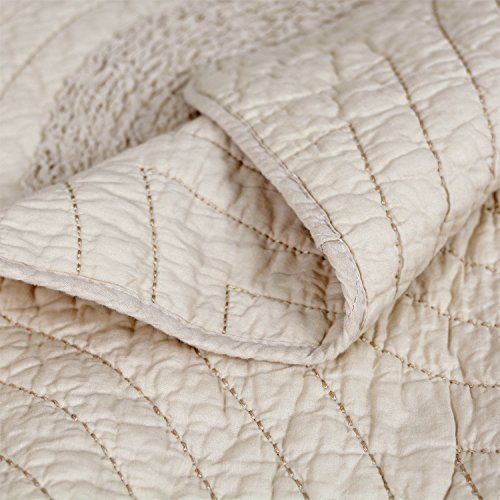 Brandream Shabby Farmhouse Bedding Sets King Size Quilt Set Beige 100 Cotton Bedspreads Queen Size Coverlet Set 0 4