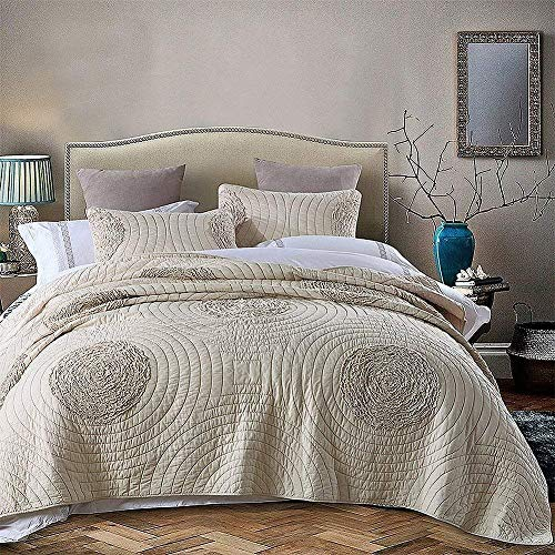 Brandream Shabby Farmhouse Bedding Sets King Size Quilt Set Beige 100 Cotton Bedspreads Queen Size Coverlet Set 0