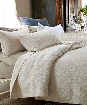 Brandream White Beige Vintage Floral Comforter Set Queen Size Bed Quilt Set Beige Floral 0 0 300x360