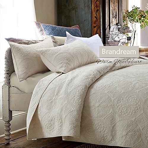 Brandream White Beige Vintage Floral Comforter Set Queen Size Bed Quilt Set Beige Floral 0 0