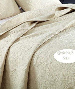 Brandream White Beige Vintage Floral Comforter Set Queen Size Bed Quilt Set Beige Floral 0 1 300x355
