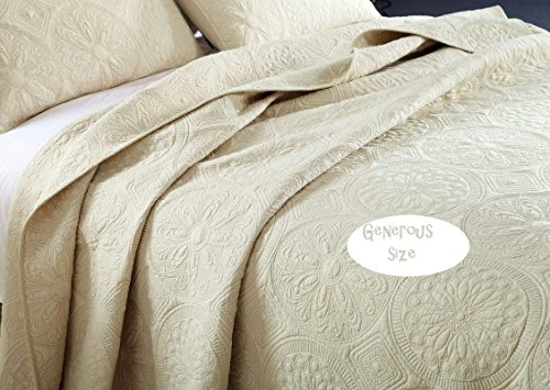 Brandream White Beige Vintage Floral Comforter Set Queen Size Bed Quilt Set Beige Floral 0 1