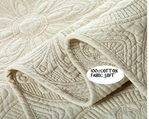 Brandream White Beige Vintage Floral Comforter Set Queen Size Bed Quilt Set Beige Floral 0 2