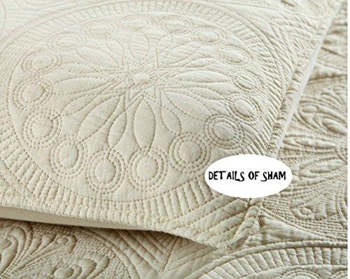 Brandream White Beige Vintage Floral Comforter Set Queen Size Bed Quilt Set Beige Floral 0 3