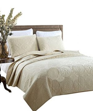 Brandream White Beige Vintage Floral Comforter Set Queen Size Bed Quilt Set Beige Floral 0 300x360