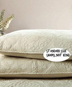 Brandream White Beige Vintage Floral Comforter Set Queen Size Bed Quilt Set Beige Floral 0 4 300x360