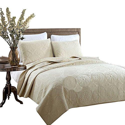 Brandream White Beige Vintage Floral Comforter Set Queen Size Bed Quilt Set Beige Floral 0