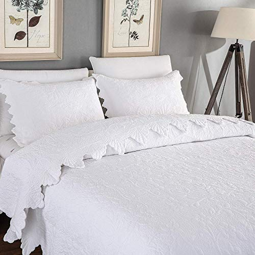 Brandream White Quilts Set Queen King Size Coverlet Set Farmhouse Bedding 100 Cotton Queen Size Quilted Bedspreads Farmhouse Goals