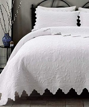 Brandream White Quilts Set King Size Bedspreads Farmhouse Bedding 100 Cotton Quilted Bedspreads 0 300x360