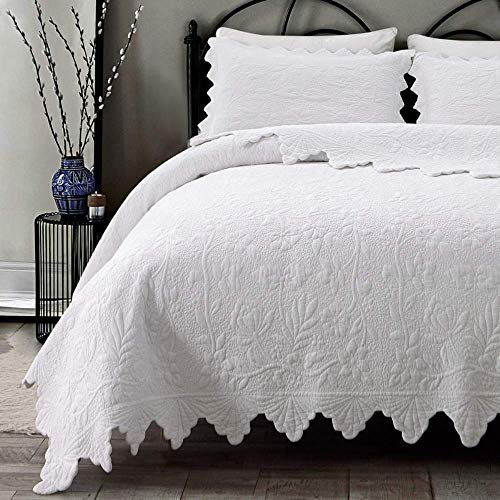 Brandream White Quilts Set King Size Bedspreads Farmhouse ...