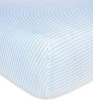 Burts Bees Baby Fitted Crib Sheet Boys Unisex 100 Organic Cotton Crib Sheet For Standard Crib And Toddler Mattresses Sky Blue Thin Stripes 0 300x360