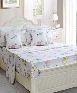 Butterfly Floral Printed Farmhouse Style Twin Size Bed Sheet Set 4Pcs 800 Thread Count 100 Egyptian Cotton Deep Pocket Bedding Set 0 0 300x360