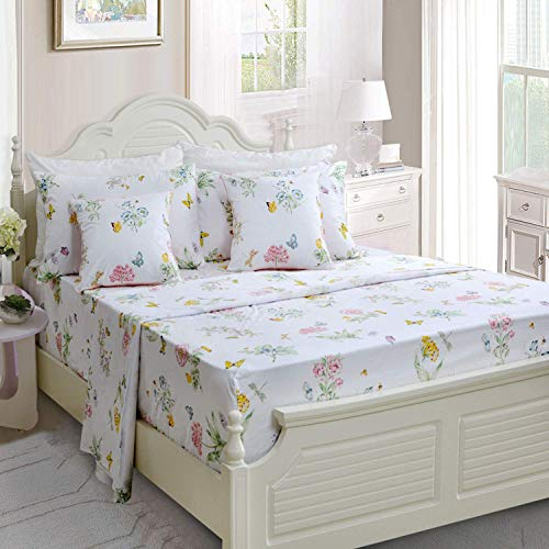 Butterfly Floral Printed Farmhouse Style Twin Size Bed Sheet Set 4Pcs 800 Thread Count 100 Egyptian Cotton Deep Pocket Bedding Set 0 0