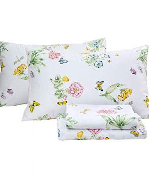 Butterfly Floral Printed Farmhouse Style Twin Size Bed Sheet Set 4Pcs 800 Thread Count 100 Egyptian Cotton Deep Pocket Bedding Set 0 1 300x360