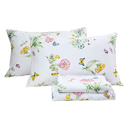 Butterfly Floral Printed Farmhouse Style Twin Size Bed Sheet Set 4Pcs 800 Thread Count 100 Egyptian Cotton Deep Pocket Bedding Set 0 1