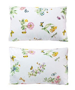 Butterfly Floral Printed Farmhouse Style Twin Size Bed Sheet Set 4Pcs 800 Thread Count 100 Egyptian Cotton Deep Pocket Bedding Set 0 3 300x360