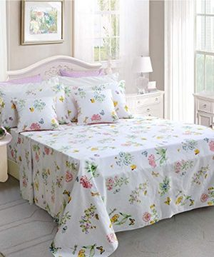 Butterfly Floral Printed Farmhouse Style Twin Size Bed Sheet Set 4Pcs 800 Thread Count 100 Egyptian Cotton Deep Pocket Bedding Set 0 300x360