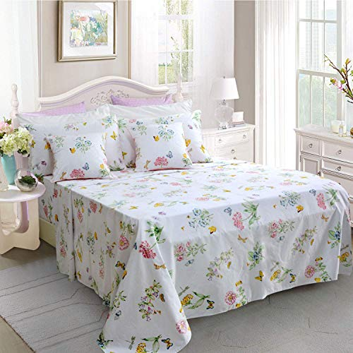 Butterfly Floral Printed Farmhouse Style Twin Size Bed Sheet Set 4Pcs 800 Thread Count 100 Egyptian Cotton Deep Pocket Bedding Set 0