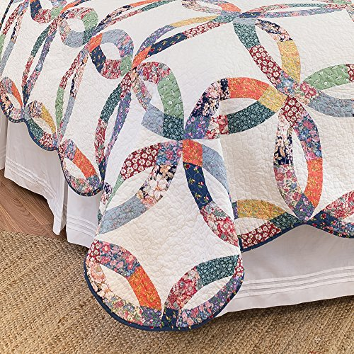 CF Home 821132TSET Heritage Wedding Ring Twin 2Piece Cotton Quilt SetMulticolorTwin 0 2