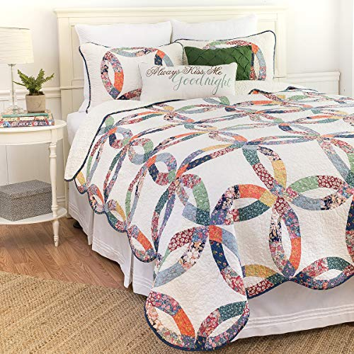 CF Home 821132TSET Heritage Wedding Ring Twin 2Piece Cotton Quilt SetMulticolorTwin 0