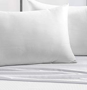 CHATEAU HOME COLLECTION 500 Thread Count Queen White Sheets Luxury 100 Cotton Ultra Soft 4 Piece Sheet Set Long Staple Combed Pure Natural Cotton Bedsheets Soft Silky Sateen WeaveDeep Pocket 0 0 300x311