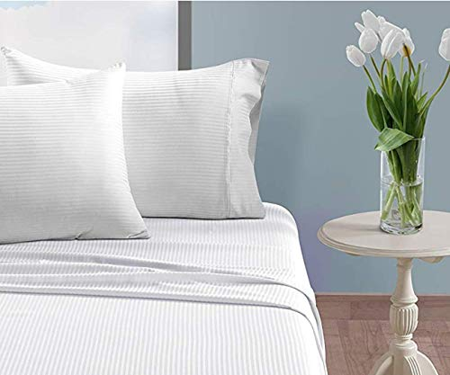 CHATEAU HOME COLLECTION 500 Thread Count Queen White Sheets Luxury 100 Cotton Ultra Soft 4 Piece Sheet Set Long Staple Combed Pure Natural Cotton Bedsheets Soft Silky Sateen WeaveDeep Pocket 0 2