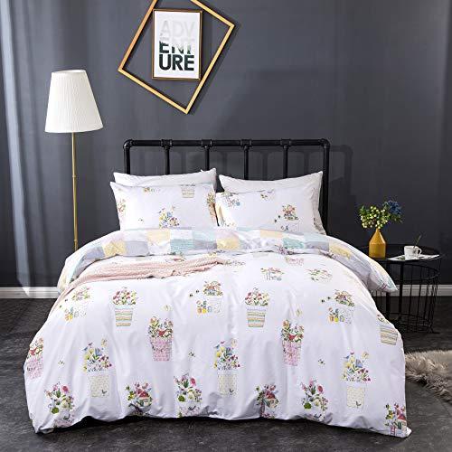 CLOTHKNOW Floral Duvet Cover Queen Cotton White Flowers Bedding Potted Bohemian Bedding Sets Farmhouse Plaid Rerversible Bedding Duvet Cover Sets With Zipper Closure 2 Pillowcases 0 0