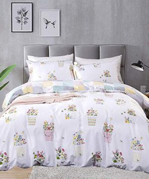 CLOTHKNOW Floral Duvet Cover Queen Cotton White Flowers Bedding Potted Bohemian Bedding Sets Farmhouse Plaid Rerversible Bedding Duvet Cover Sets With Zipper Closure 2 Pillowcases 0 300x360