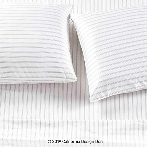 California Design Den 600 TC 100 Cotton Sheet Ticking Stripe Grey King Printed Sheet Set 4 Pc Long Staple Combed Cotton Bedding Sheets For Bed Soft Sateen Weave Fits Mattress Upto 18 Deep Pocket 0 0
