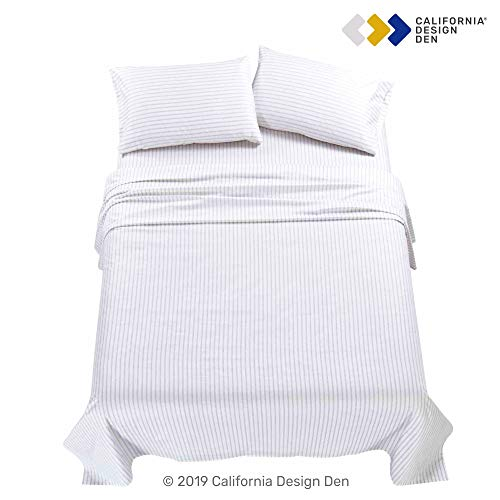 California Design Den 600 TC 100 Cotton Sheet Ticking Stripe Grey King Printed Sheet Set 4 Pc Long Staple Combed Cotton Bedding Sheets For Bed Soft Sateen Weave Fits Mattress Upto 18 Deep Pocket 0 3