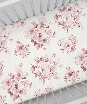 Carousel Designs Rose Farmhouse Floral Crib Sheet Organic 100 Cotton Fitted Crib Sheet Made In The USA 0 0 300x360