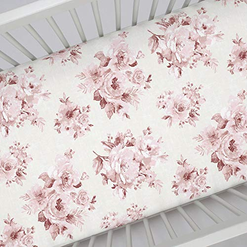 Carousel Designs Rose Farmhouse Floral Crib Sheet Organic 100 Cotton Fitted Crib Sheet Made In The USA 0 0