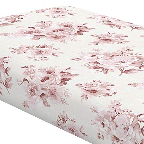 Carousel Designs Rose Farmhouse Floral Crib Sheet Organic 100 Cotton Fitted Crib Sheet Made In The USA 0 1