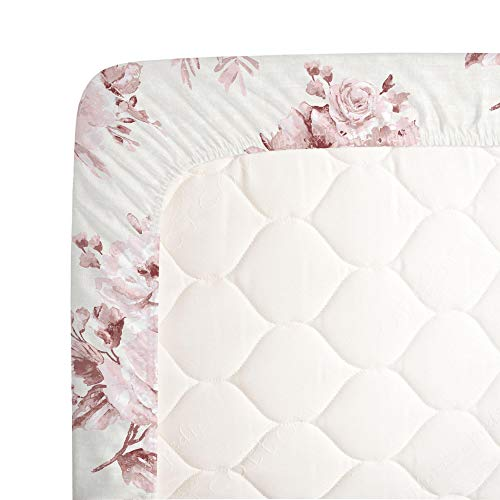 Carousel Designs Rose Farmhouse Floral Crib Sheet Organic 100 Cotton Fitted Crib Sheet Made In The USA 0 2